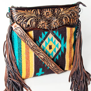Turquoise/Mustard Saddle Blanket Purse