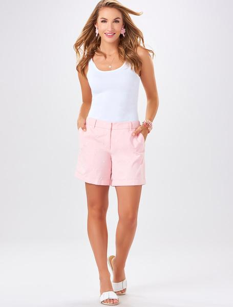 Embroidered Pink Palm Shorts