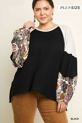 Waffke Knit Top/Floral Print Sleeves