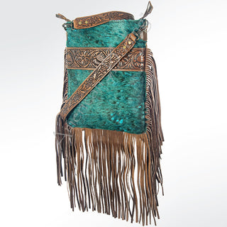 Turquoise Acid Wash Hair on Hide Fringe Leather Purse