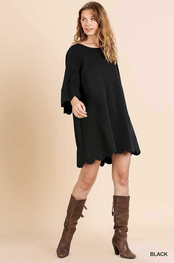 Umgee Black Scallop Trim Dress