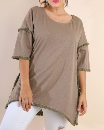 High Low Tunic w/Fringed Hems