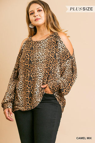 Umgee Animal Print Long Puff Sleeve Open Shoulder Round Neck Top