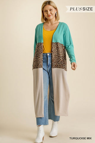 Linen Animal Print Cardigan - Plus