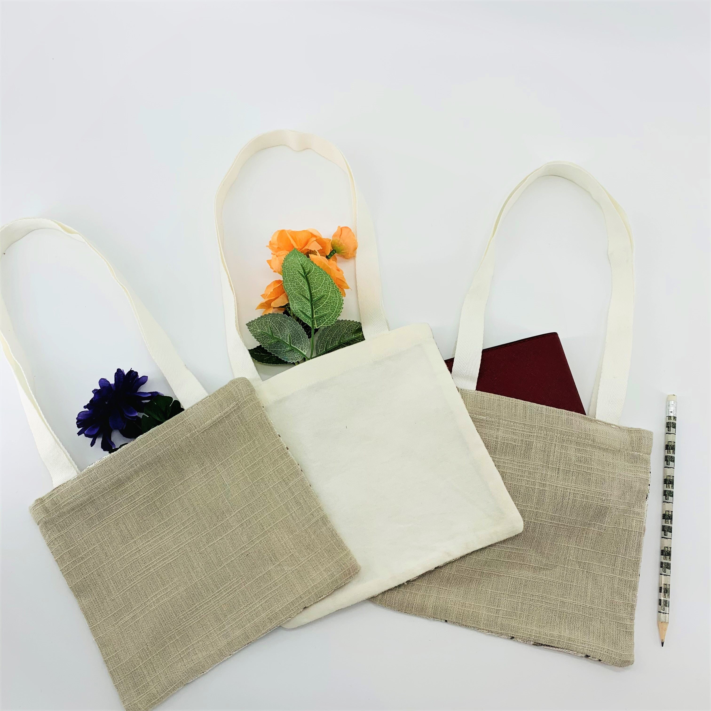 SET OF 3; Eco-Friendly Small Gift Bags; Embroidered in Tan & White