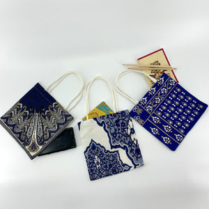 SET OF 3; Eco-Friendly Small Gift Bags in Blue & White
