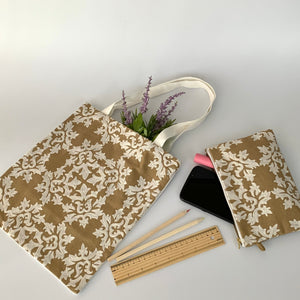 Eco-Friendly Petite Gift Tote Bag with Zipper Pouch SET; Tan & Ivory