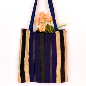 Eco-Friendly Petite Gift Tote Bag with Zipper Pouch SET; Gold & Navy