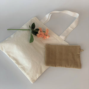 Eco-Friendly Petite Gift Bag and Zipper Pouch Set; Ivory Embroidered