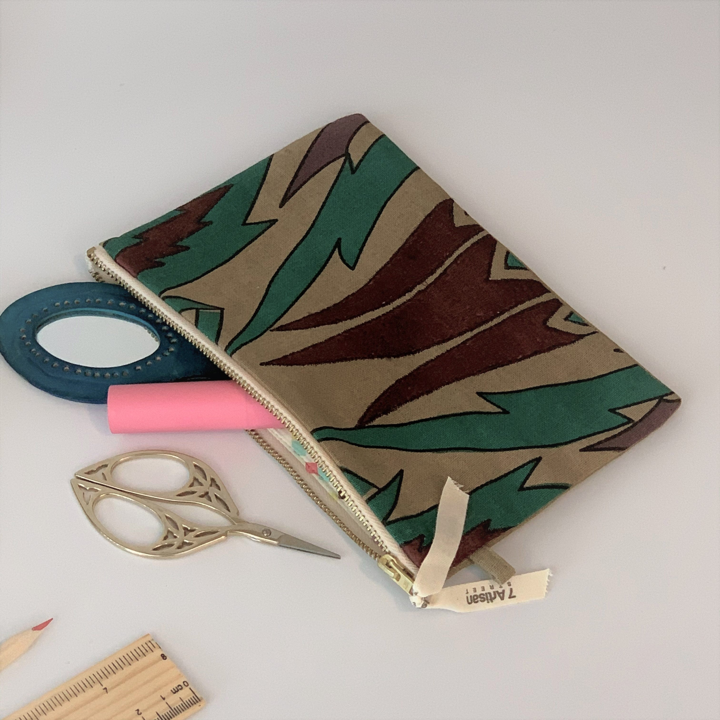 Eco-Friendly Petite Gift Bag and Zipper Pouch Set; Blue & Tan