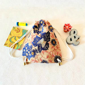 El & Mu; PETITE Drawstring Back Pack for Toddlers; Floral Embroidered