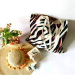 Market Bags; Upcycled Large Grocery Bags; Reusable - ZEBRA