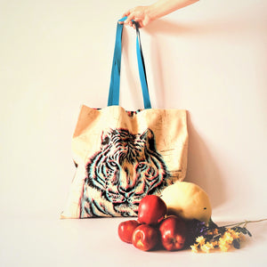 Market Bags; Upcycled Large Grocery Bags; Reusable - TIGER