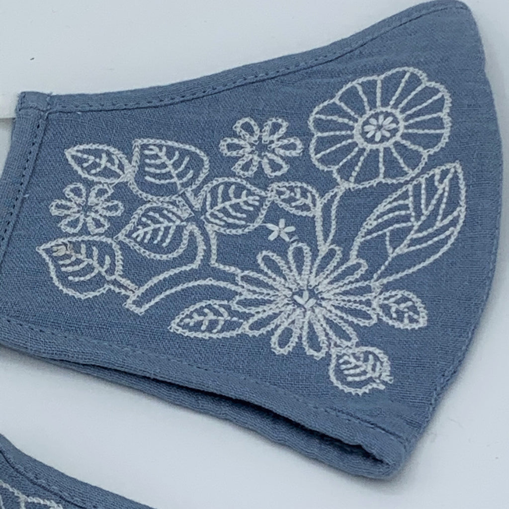 Embroidered Organic Cotton Double Layer Reusable Face Mask BLUE - 2 Sizes