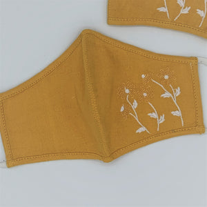 Embroidered Organic Cotton Double Layer Reusable Face Mask MUSTARD - 2 Sizes