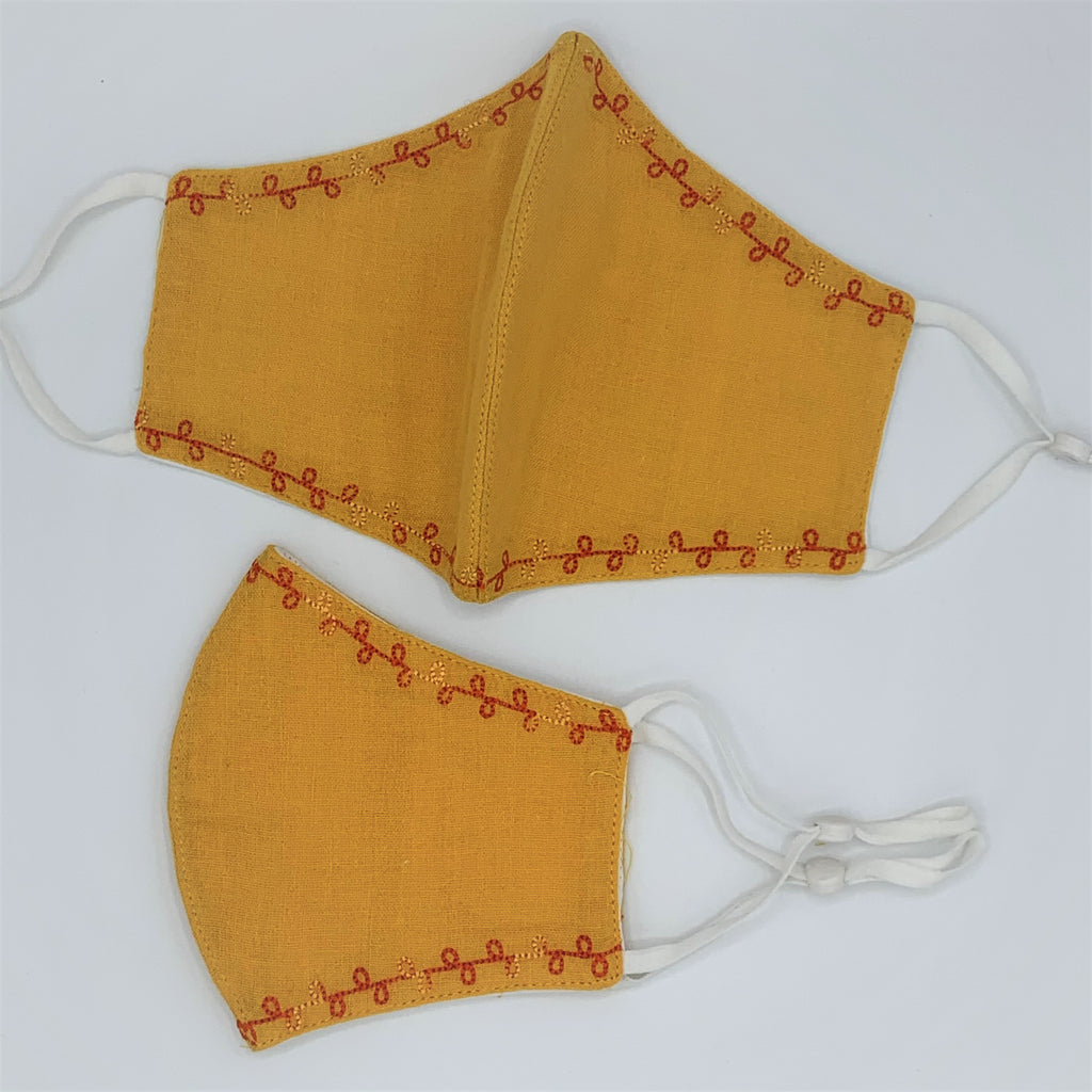 Delicately Embroidered Organic Cotton Double Layer Reusable Face Mask MUSTARD - 2 Sizes