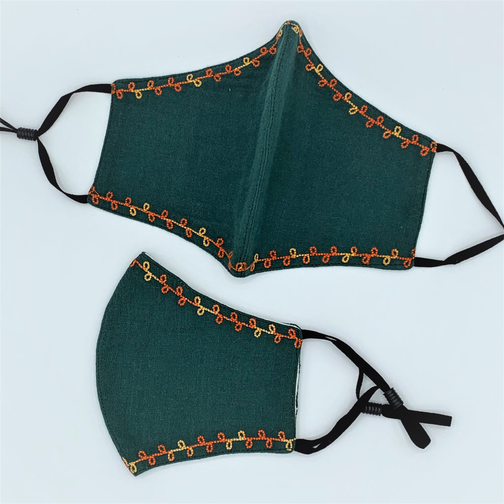 Delicately Embroidered Organic Cotton Double Layer Reusable Face Mask GREEN - 2 Sizes