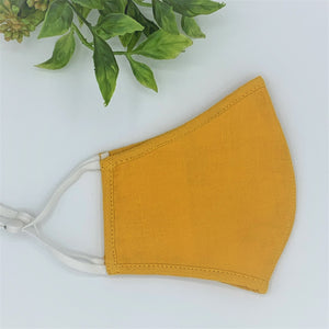 Organic Cotton Double Layer Reusable Face Mask SOLID MUSTARD - 2 Sizes