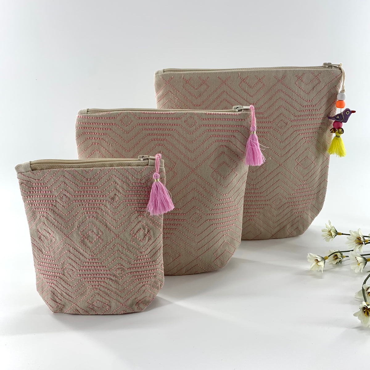 Pink Elephant Wallets  Zipper Pouch  Hand Embroidered Bag  Cotton Canvas Wallet  Pink /& Blue Coin Purse  Made in Maine