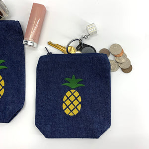 Pineapple Collection; Embroidered Pouches DENIM - SET OF 3