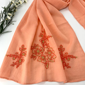 Cotton Voile Long Embroidered Cotton Scarf