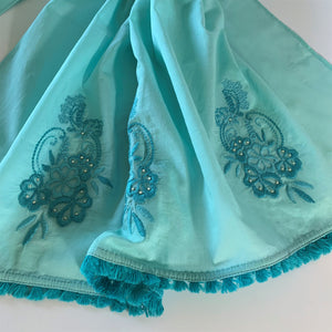 Hand-embroidered and Beaded Long Cotton Scarf: Sea Green