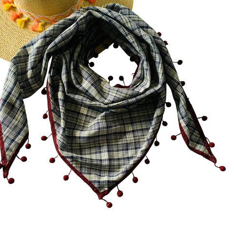 Fall Winter Triangle Scarf Collection: Grey Plaids: Reversible