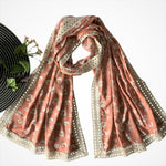Fall New Collection; Wide Printed Scarf with Lace; Peach