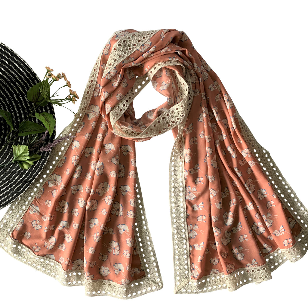 Wide Printed Scarf with Wide Lace; Peach
