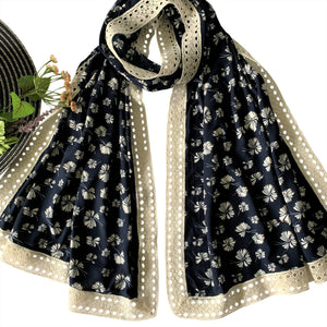 Wide Printed Scarf with Wide Lace; Navy