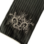 Lurex Black Skinny Scarf with Embroidered Edges