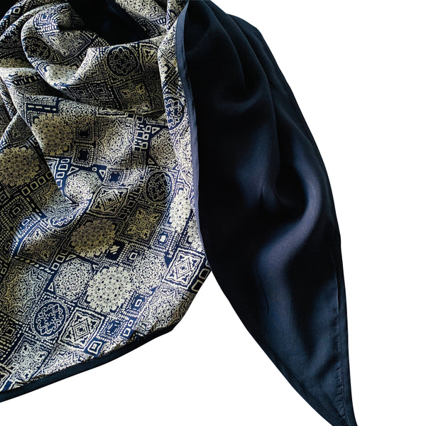 Double Lined Printed Triangle Sung Scarf - Midnight Blue