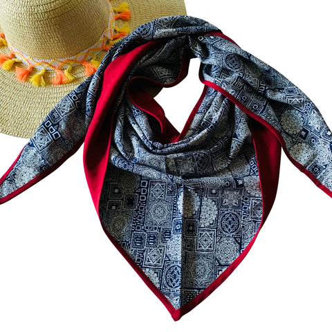 Fall Winter Triangle Scarf Collection: Navy-Red