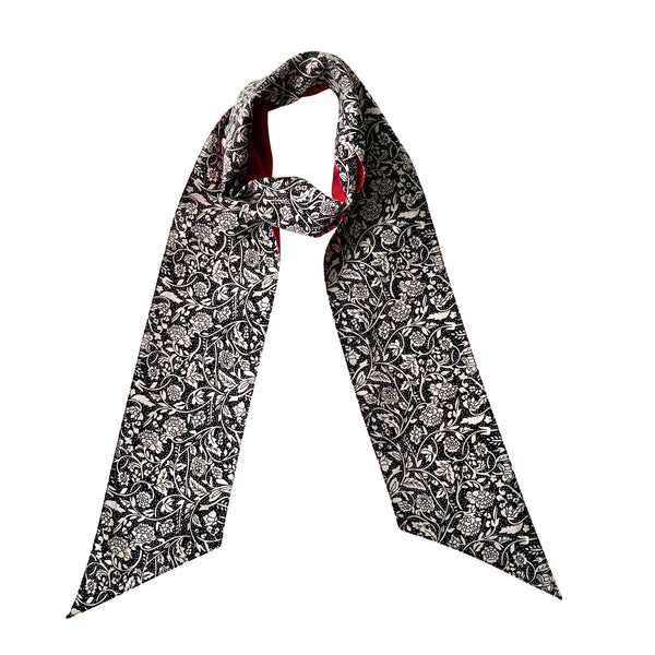 Broad Elegant Skinny Scarf; Printed; Black with Solid Reverse