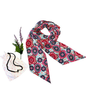Broad Elegant Skinny Scarf; Printed; Shades of Pink and Blue; Neck Tie Style