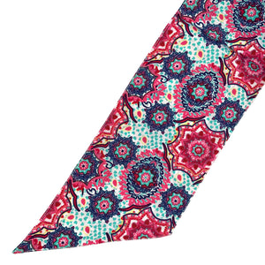 Broad Elegant Skinny Scarf; Printed; Shades of Pink and Blue
