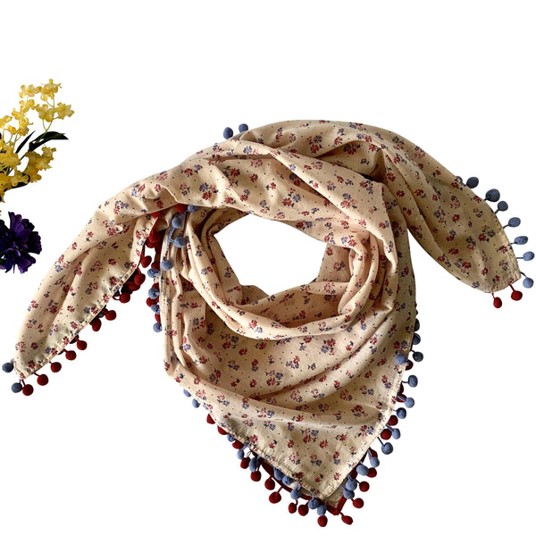 Light Fall Square Printed Scarf with Pom-Poms