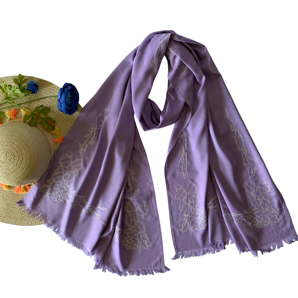 Threads & More Collection: Long Scarves: Lavender