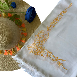 Threads & More Collection: Long Scarves: Summer-Fall Yellow