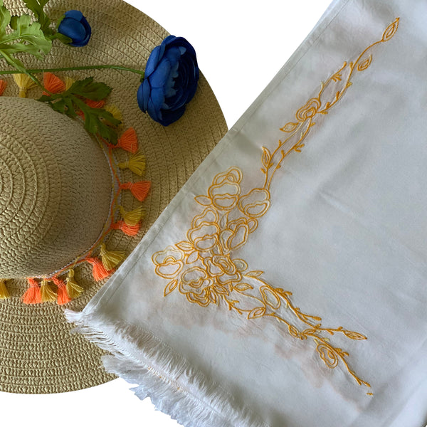 Threads & More Collection: Long Scarves: Summer Yellow