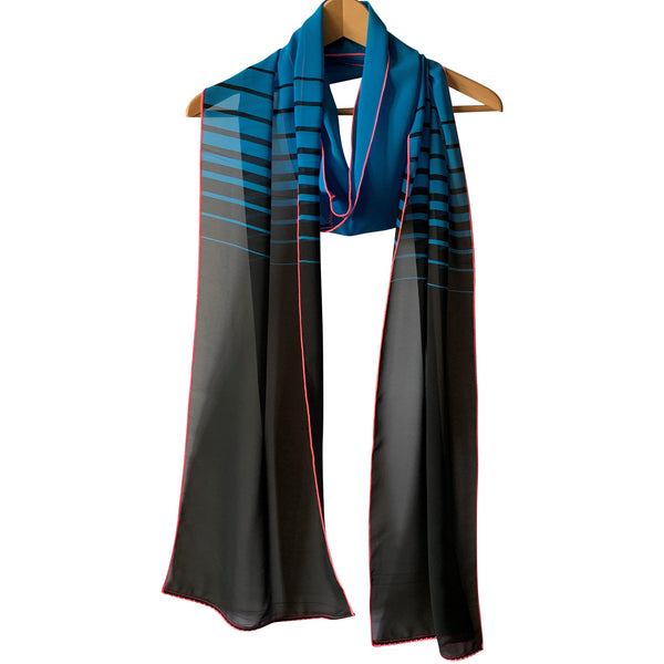 Extra Long Horizontal Lines; Printed Scarf : Electric Blue + Black