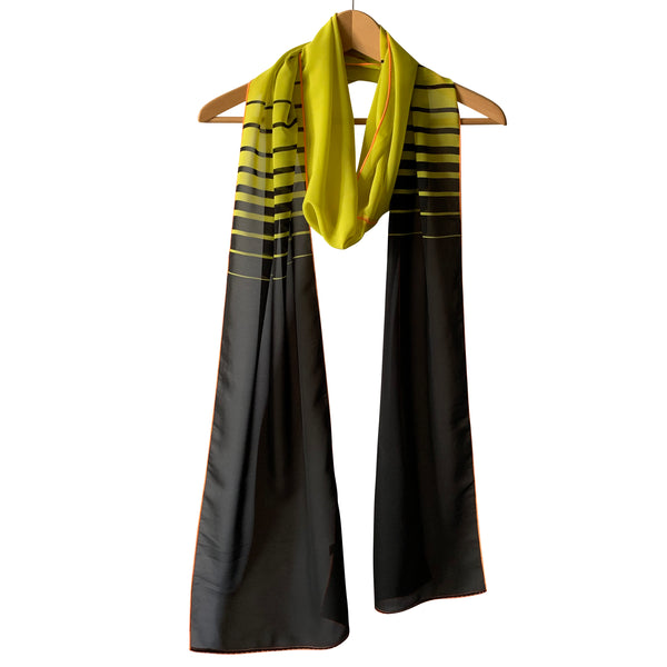 Extra Long Horizontal Lines; Printed Scarf : Yellow + Black