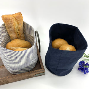 Linen Bread Baskets : Round with 2 Color Options