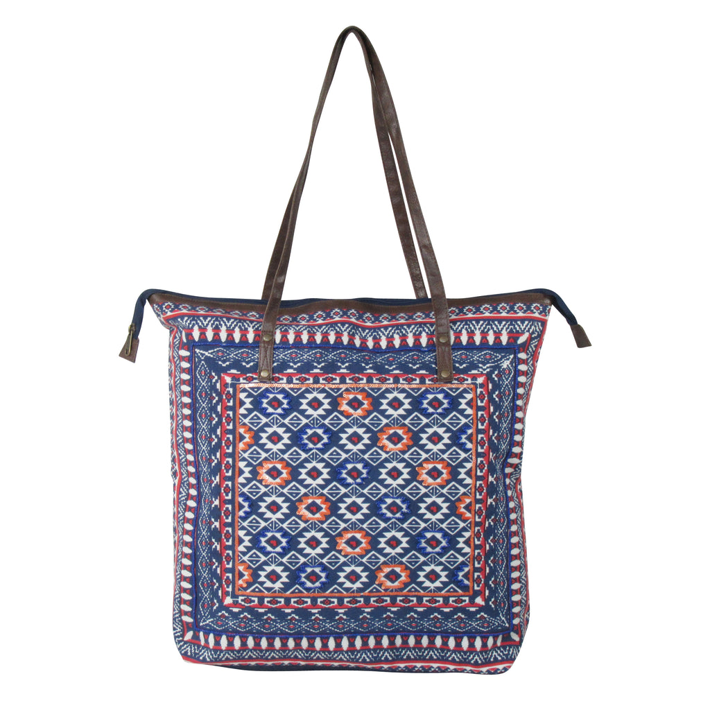 Front Embellished Cotton TOTE Bag with Long Shoulder Straps