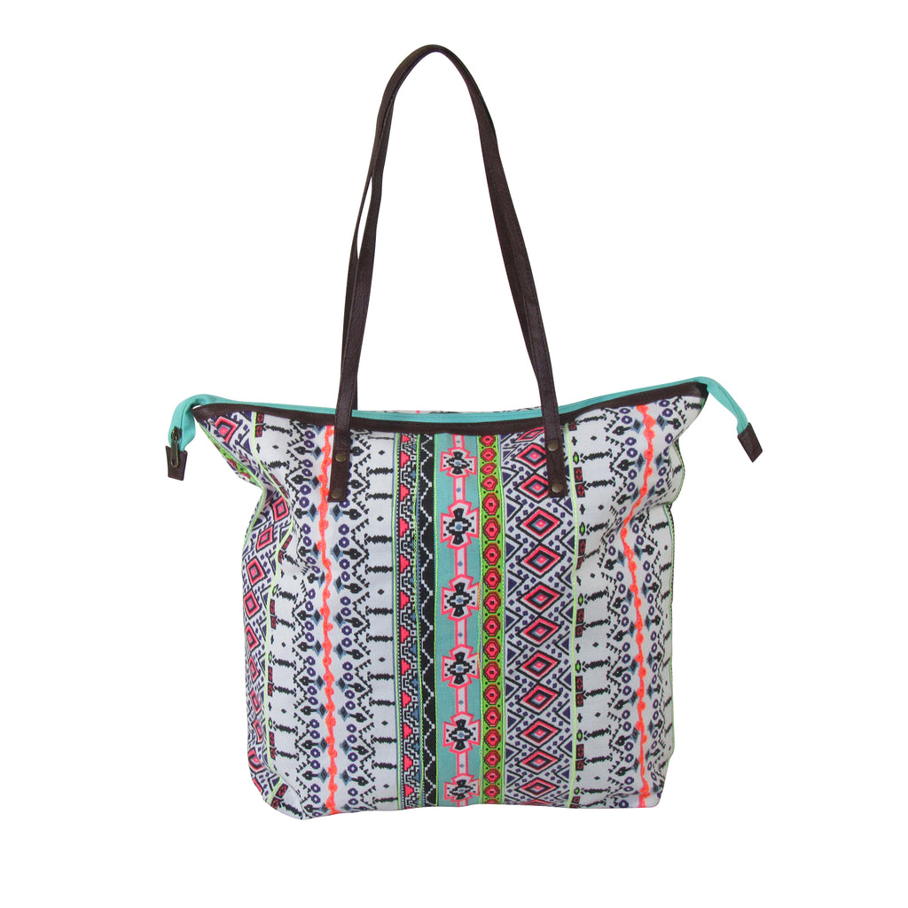 Printed Large TOTE; WEEKENDER with Faux Leather Handle