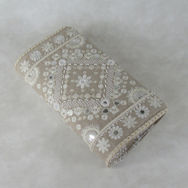 Mirror Work, Embroidered; Handcrafted CLUTCH Bag