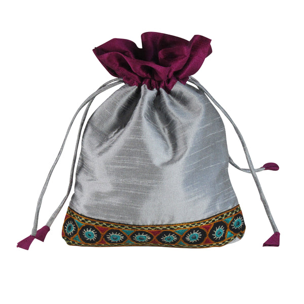 SILK Gift Bag; Multi Utility Embroidered POUCH: Silver