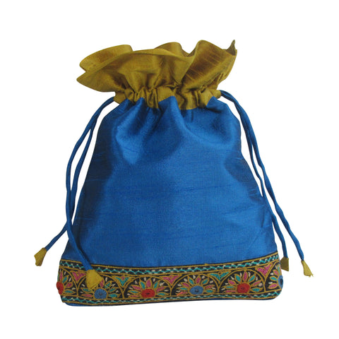 SILK Gift Bag; Multi Utility Embroidered POUCH: Blue