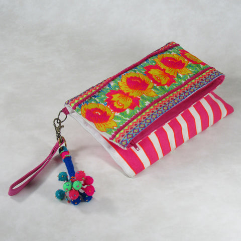 Embroidery Double Flap Large CLUTCH Bag