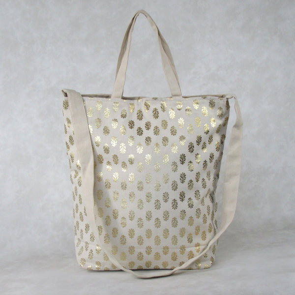 Canvas TOTE with Traditional Indian Gold Print and Embroidery Panel